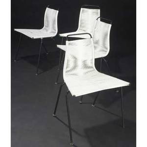 Poul kjaerholm  e kold christensen set of four pk41 chairs with string seats on original black enameled metal frames 28 12 x 20 x 15