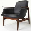 Finn juhl no 53 easy chair on sculpted rosewood frame upholstered in black vinyl 29 12 x 28 x 30