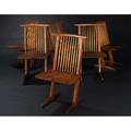 George nakashima set of six walnut conoid chairs with hickory spindles marked with clients name 35 x 20 x 20