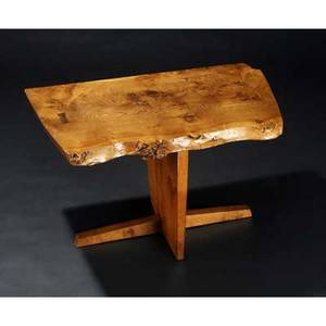 George nakashima conoid side table its burled oak freeedge top with single rosewood butterfly key commissioned for the sanctuary at the jewish center of princeton 21 x 35 x 24