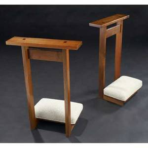 George nakashima pair of walnut prayer stools inlaid with rosewood and gray chenille knee cushions both marked with clients name provenance available 31 x 21 x 13