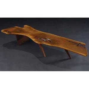 George nakashima coffee table its freeedge top with natural occlusions and single rosewood butterfly key on slab base provenance available marked with clients name 13 14 x 72 x 22