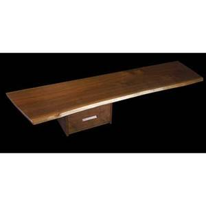 George nakashima fine walnut hanging wall shelf with drawers one piece top 1986 accompanied by original drawing provenance available marked with clients name 11 x 84 x 22