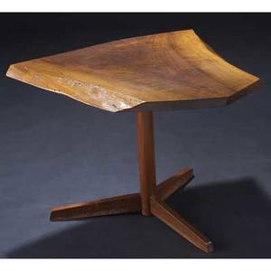 George nakashima walnut pedestal end table with single butterfly key to top provenance available 21 x 28 x 28