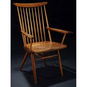 George nakashima walnut new chair with arms marked with clients name 39 x 24 12 x 20
