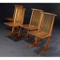 George nakashima set of four walnut conoid dining chairs with hickory spindles provenance available marked with clients name 35 14 x 20 x 21