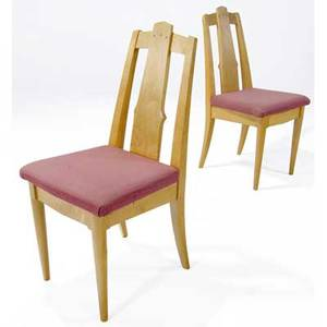 Mark sfirri pair of maple side chairs with rosewood pins to backsplat 1989 signed each 38 x 18 x 18
