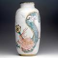Michael and magdelena frimkess tall stoneware jar covered in white volcanic glaze with dragons in polychrome 18 x 8