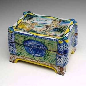 Ann agee faienceglazed earthenware covered box painted with nudes 1988 provenance the derek mason and daniel jacobs collection signed and dated 6 x 9 34 x 7