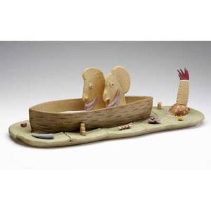 Tom rippon earthenware and porcelain sculpture art buyers in a canoe 1975 provenance the derek mason and daniel jacobs collection signed and dated 7 12 x 25
