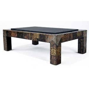 Paul evans copper bronze and pewter coffee table with inset slate top 16 x 48 x 32