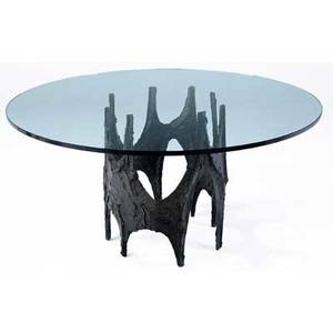 Paul evans breakfast table with glass top over sculpted bronze base 1970 from the estate of wilson pickett signed pe 70 29 x 55 dia