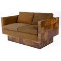 Paul evans burlwood patchwork loveseat upholstered in brown suede en suite with preceding an original paul evans brass tag 26 12 x 52 x 32