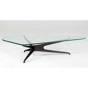 Style of vladimir kagan trisymmetric coffee table with glass top on sculpted walnut base 16 14 x 72 x 32