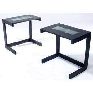 Vladimir kagan pair of cantilevered ebonized oak side tables their tops inset with three abstract tiles among kagans earliest designs ca 1947 these tables were purchased directly from him 27