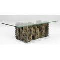 Silas seandel patinated and welded bronze coffee table with plate glass top 15 12 x 51 12 x 21