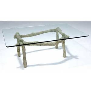 Silas seandel prototype coffee table with glass top on troweled stone base 18 x 48 x 30