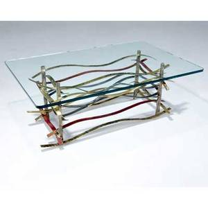 Silas seandel ribbon coffee table with glass top on copper brass bronze and steel base 16 x 42 x 27