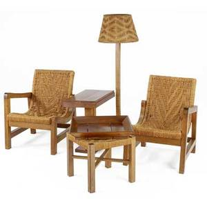 Tyco living room set pair of singlearm chairs with pedestal side table floor lamp ottoman and tray chairs 32 x 23 34 x 26 table 24 x 24 12 x 14 14 ottoman with tray 20 x 21 12 sq