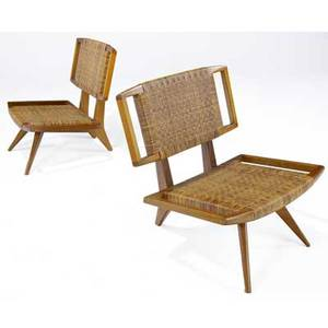Paul laszlo  glenn of california pair of bleached mahogany lounge chairs with woven cane seats and backs 30 x 28 x 28