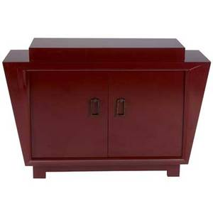 James mont cabinet in red lacquer with two doors enclosing five drawers branded james mont design 32 12 x 48 x 15 12