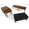 Edward wormley  dunbar five pieces in ebonized wood mahogany and brass coffee table set of three nesting tables and an upholstered bench on ebonized wood frame dunbar metal and paper tags coffe