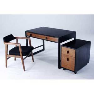 Edward wormley  dunbar desk and file cabinet in ebonized wood and mahogany with armchair dunbar metal and paper tags desk 29 x 44 x 27 cabinet 23 x 15 x 25