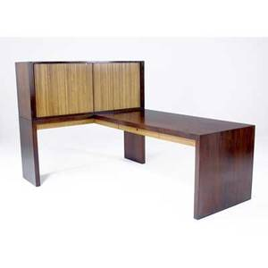 Edward wormley  dunbar rosewood veneer lshaped desk with oak tambour doors and interior dunbar brass tag 53 x 60 x 82