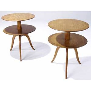 Edward wormley  dunbar pair of mahogany gueridon tables with faceted posts and tripod bases dunbar metal tags 28 x 22 dia