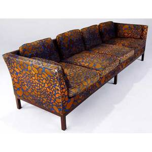 Edward wormley  dunbar sofa upholstered in jack lenor larsen fabric on walnut base 27 12 x 100 x 31