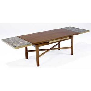 Edward wormley  dunbar walnut and brass coffee table with polished marble extensions open 19 x 69 x 24 closed 44