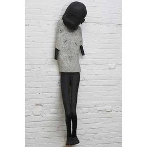 Robert brady figural ceramic wallhanging sculpture pierced and covered in black and white glazes survivor  black and white series 198485 68 x 17 x 15
