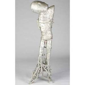 Robert brady twopiece glazed stoneware figural sculpture descendant of io covered in silver glaze exhibited a fire for ceramics contemporary art from the daniel jacobs and derek mason colle