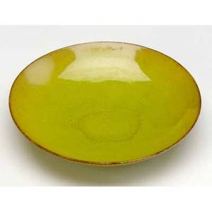 Natzler fine earthenware bowl covered in chartreuse glaze signed natzler 1 x 4 34