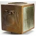 Robert and paula winokur large rakufired foursided planter with two ribbon handles and four small feet 18 x 18 12