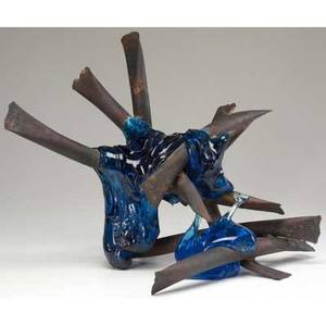 Claire falkenstein welded copper and fused glass sculpture 1975 signed and dated 15 x 22