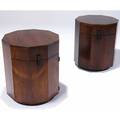 Harvey probber pair of mahogany veneer faceted side table cabinets harvey probber metal tags 22 14 x 28 12
