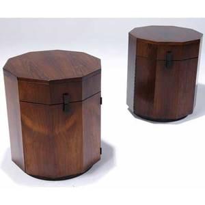 Harvey probber pair of mahogany veneer faceted side table cabinets harvey probber metal tags 22 14 x 28 12