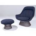 Warren platner  knoll lounge chair and ottoman upholstered in original mottled blue and black fabric on black wire frames 39 x 41 x 36