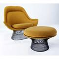 Warren platner  knoll lounge chair and ottoman upholstered in original alexander girard ochre fabric on black wire frames knoll associates tags chair 39 x 41 x 29