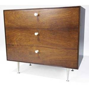 George nelson  herman miller thinedge chest of drawers with rosewood case and walnut drawers on steel legs 30 12 x 33 34 x 18 12