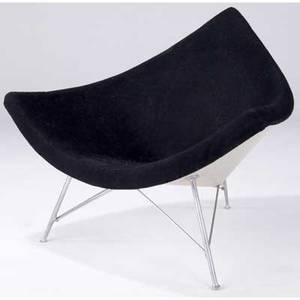 George nelson  herman miller coconut chair upholstered in black boucle 34 x 40 x 29