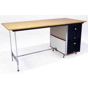 Charles eames  herman miller esu desk with birch top and colored panels in gray black and beige 29 34 x 60 x 28