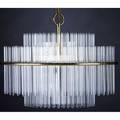 Gaetano sciolari  lightolier chandelier with tiered optical glass rods on polished brass and chromed steel frame sciolari label to ceiling cap 40 x 20 dia