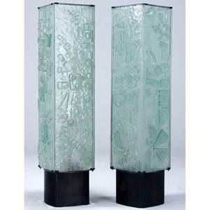 Modern pair of paneled cast glass floor lamps on metal bases each with four sockets 50 34 x 11 12 sq