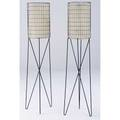 Paul mayen pair of black enameled metal lamps with paper shades 58 x 12