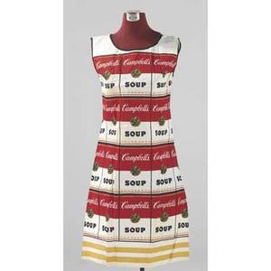 Andy warhol the souper dress screenprint in colors on cotton paper dress ca 1965 literature mark francis the warhol look glamour style fashion new york 1997 for illustration of another