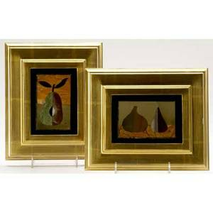 Richard blow  montici pair of pietra dura pictures in mixed hardstone both inlaid m lower right sight 2 12 x 4 framed 8 12 x 7