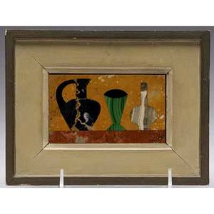 Richard blow  montici pietra dura picture of jugs in mixed hardstone inlaid m lower right sight 2 14 x 4 framed 7 x 5 14