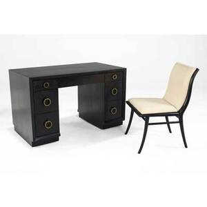Th robsjohngibbings ebonized walnut desk with brass ring pulls along with side chair desk 29 12 x 48 x 26 chair 34 x 20 x 24